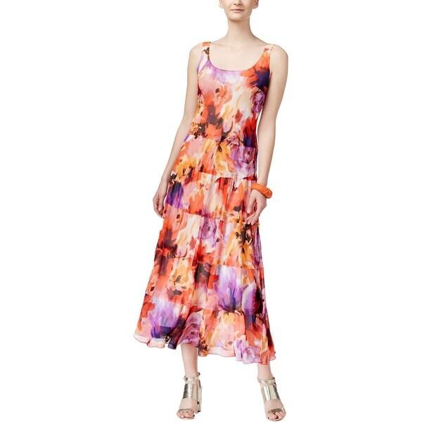 Nine West Womens Maxi Dress Chiffon Floral Print