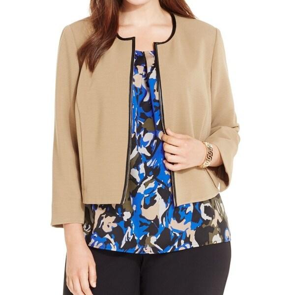 54b070017b341 Shop Kasper NEW Beige Women s Size 20W Plus Ribbed Open-Front Seamed Jacket  - Free Shipping Today - Overstock.com - 17098785