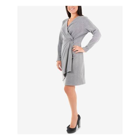 NY COLLECTION Silver Long Sleeve Above The Knee Dress M