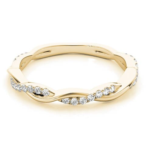 Lucid Styles 14K Gold 0.19 CT Infinity Round Cut Diamond Stackable Ring