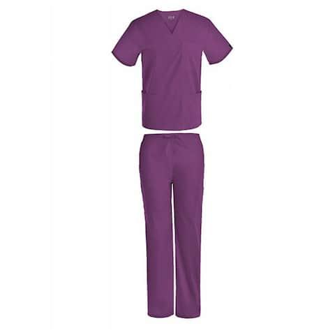 Unisex V-Neck Scrub Set DSF Medical Uniform Women Men Top and Pants 1826