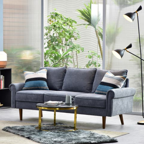 Ovios Upholstered Mid-century Sofa Cushions Wood Leg