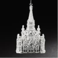 """6"""" Crystal Look Church with Iridescent Glitter Religious Christmas Ornament"""