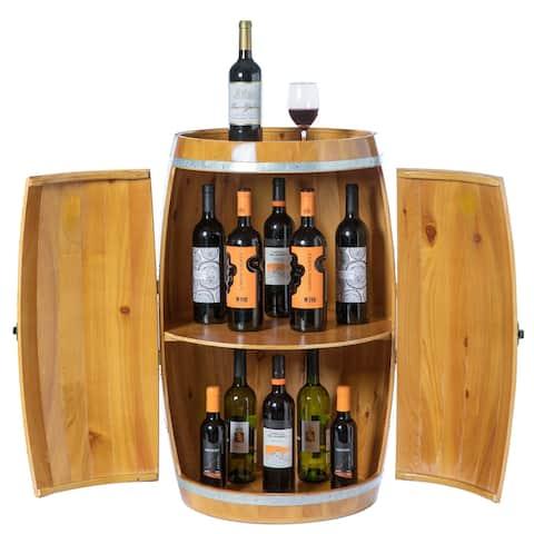Wine Barrel Shaped Wine Holder, Bar Storage Lockable Storage Cabinet