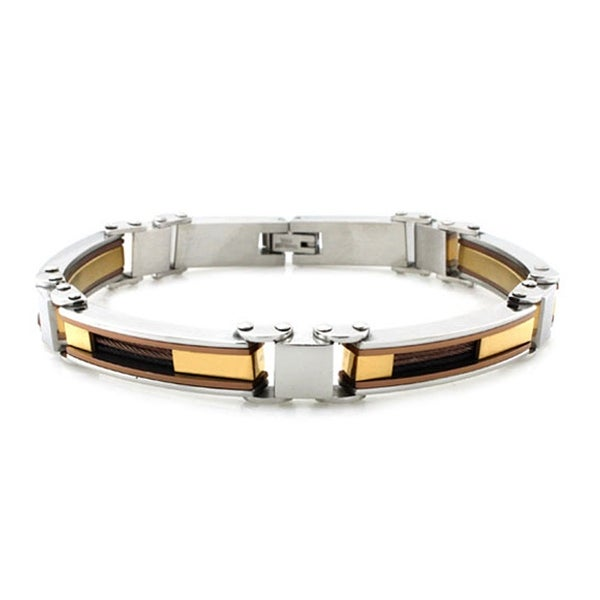 Tri-Tone Stainless Steel Two-Tone Cable Inlay Link Bracelet - 8.5 inches