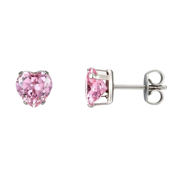 5mm Pink Solitaire Earrings Heart Shape Cubic Zirconia Stainless Steel Studs