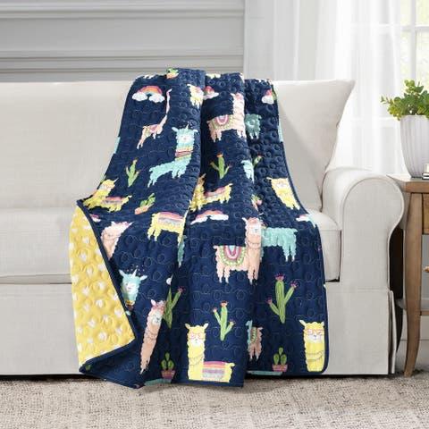 Lush Decor Make A Wish Southwest Llama Cactus Reversible Throw Blanket