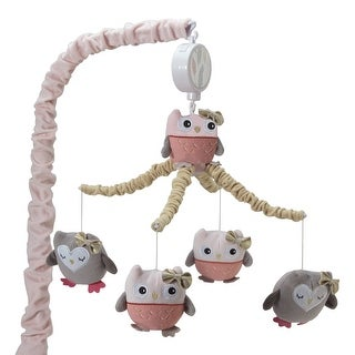 Lambs & Ivy Family Tree Musical Baby Crib Mobile - Pink, Gray, Coral, Animals, Woodland, Forest, Owl, Girl