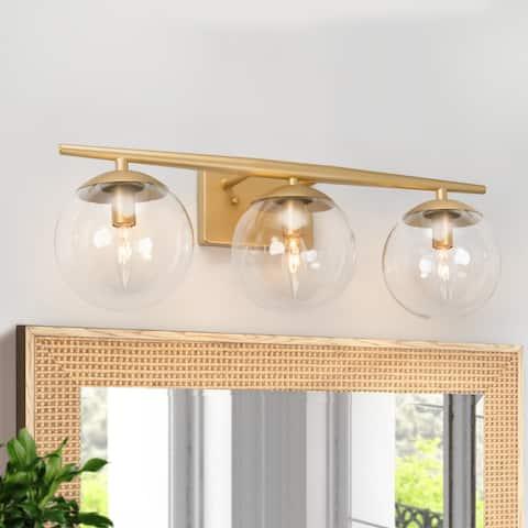 "Modern 3-light Bathroom Vanity Lights Gold Wall Sconce for Powder Room - L22""x H8.5""x E7.5"""