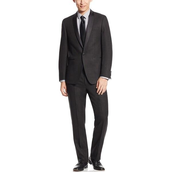 Calvin Klein Slim Shadow Grid Black Shawl Collar Tuxedo 46 Regular 46R Pants 39W