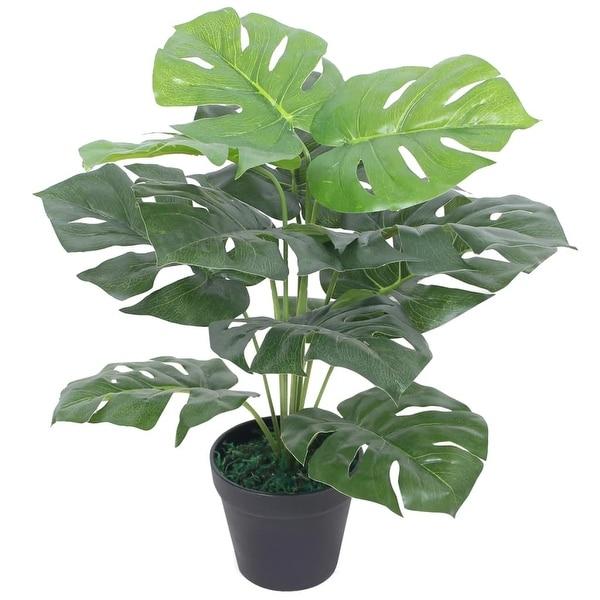 "vidaXL Artificial Monstera Plant with Pot 17.7"" Green. Opens flyout."