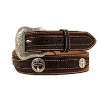 Nocona Western Belt Men Distressed Cross Concho Medium Brown