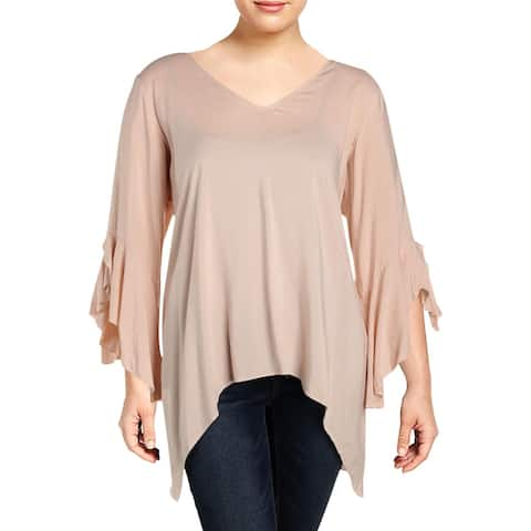 Cupio Womens Plus Tunic Top Hi-Low Bell Sleeves