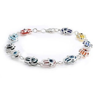 Bling Jewelry Sterling Silver Multi Color Evil Eye Hamsa Charm Bracelet 7.5in
