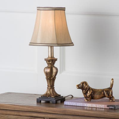 SAFAVIEH Lighting 17-inch August Gold Silky Table Lamp (Set of 2)