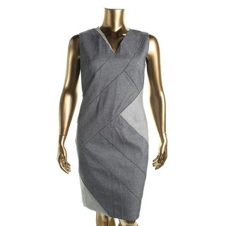 Elie Tahari Womens Judith Sleeveless Patchwork Cocktail Dress