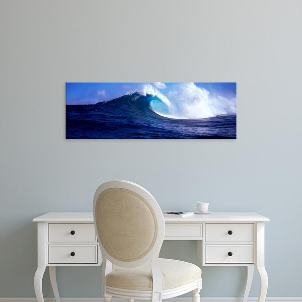 Easy Art Prints Panoramic Images's 'Waves splashing in the sea, Maui, Hawaii, USA' Premium Canvas Art