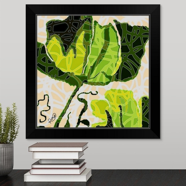 """""""Large Green And Yellow Abstract Flower"""" Black Framed Print"""
