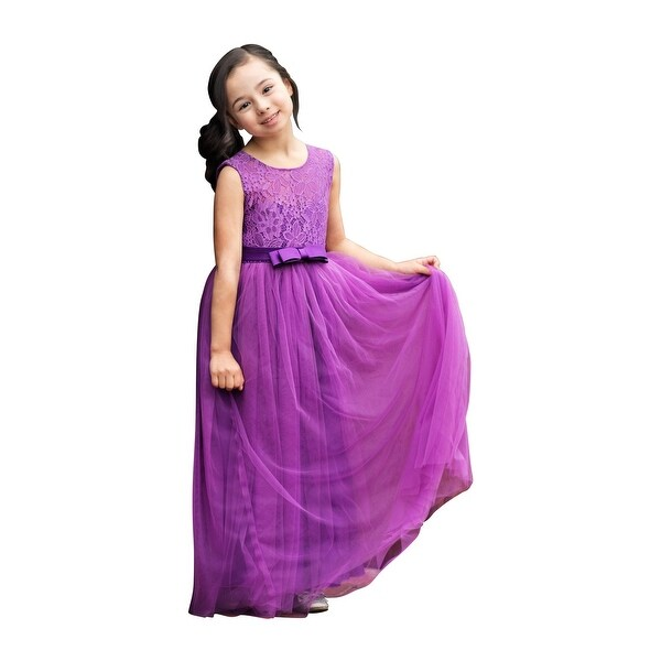 06173523fa Shop Little Girls Violet Lace Tulle Bow Floor Length Laurelie Flower Girl  Dress - Free Shipping Today - Overstock - 23087146