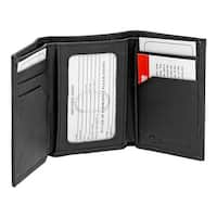 Tri-Fold RFID Blocking Wallet - Black Leather