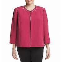 Kasper Pink Womens Size 20W Plus Studded Open-Front Crepe Jacket