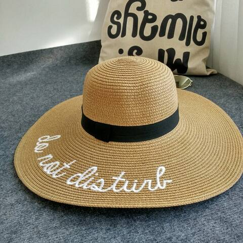 Beach Sunscreen Straw Hat Embroidered Letters