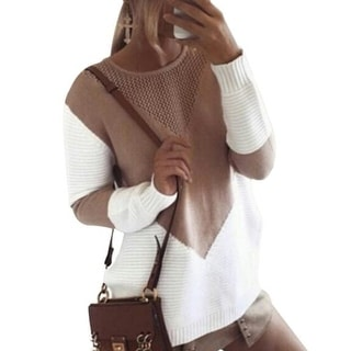 Link to Crew Neck Stitching Color Knitted Sweater Similar Items in Women's Sweaters