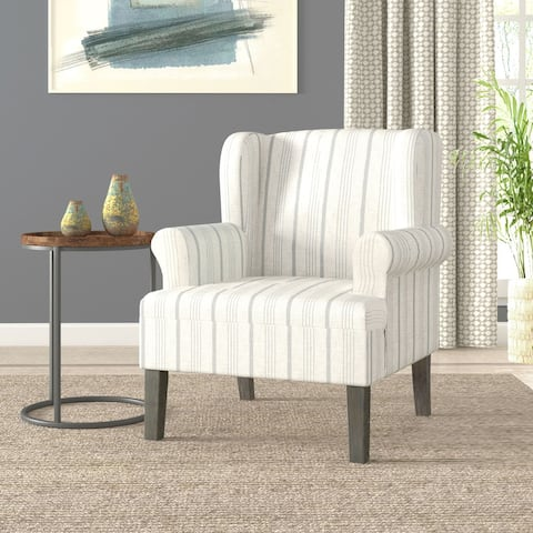 HomePop Emerson Rolled Arm Accent Chair - Dove Grey Stripe