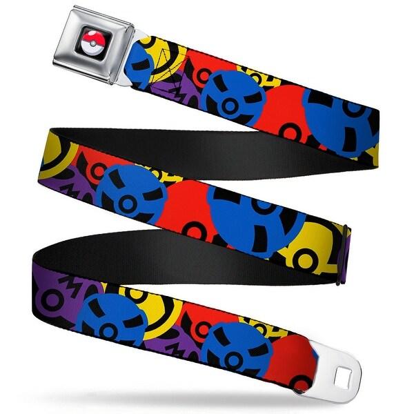 Pok Ball Full Color Black 4 Pok Balls Stacked Black Multi Color Webbing Seatbelt Belt