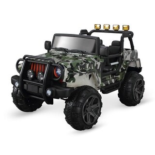 Kidzone 12V Kids RC Remote Control Truck SUV Ride-On Car w/ 3 Speeds, LED Lights, MP3, AUX Cord (Camo)