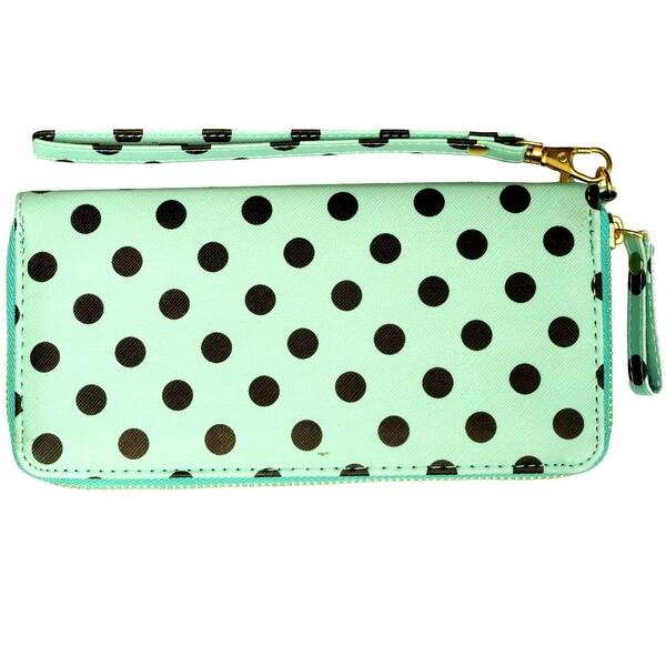 Polka Dot Wristlet Clutch Wallet With Wrist Strap, Mint Green - Medium
