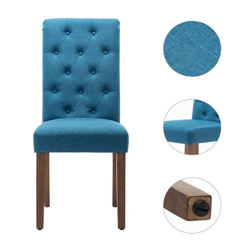 Moda 2-Piece Classic Fabric Parson Chair with Wooden Legs