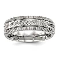 Stainless Steel Polished Grooved and Textured Ring (7 mm) - Sizes 7 - 13