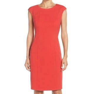 Eliza J NEW Red Womens Size 10 Crewneck Seamed Solid Sheath Dress