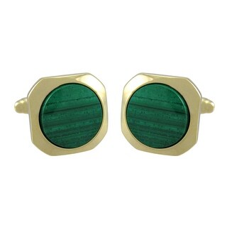 Gold Plated Malachite Cufflinks Formal