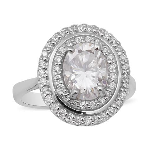 925 Sterling Silver Platinum Over Moissanite Halo Ring Size 10 Ct 2.3