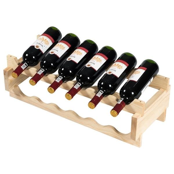 Freestanding 6 Tiers 36 Bottles Wood Wine Rack Stackable Natural Display Shelf