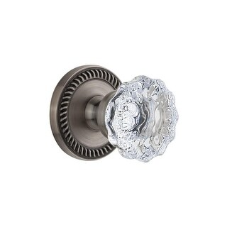 "Grandeur NEWFON_PRV_238  Newport Solid Brass Rose Privacy Door Knob Set with Fontainebleau Crystal Knob and 2-3/8"" Backset"
