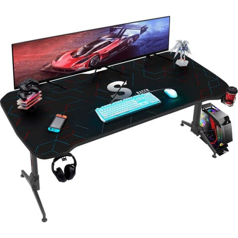 Homall Height Adjustable Gaming Desk 63 Inch T Shape Pc Computer Desk Office Worksation