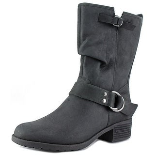 Hush Puppies Emelee Overton Women W Round Toe Leather Black Mid Calf Boot