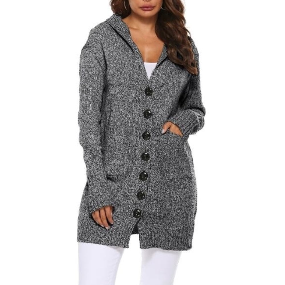 Womens Sweater Hooded Button Up Knit Sweater Open Front Cardigan Outwear With Pockets by  2020 Sale