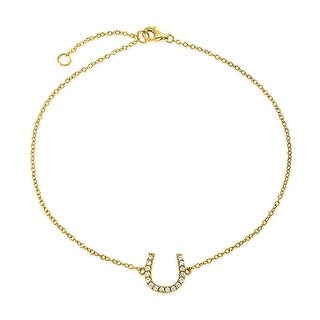 Bling Jewelry Gold Plated 925 Silver CZ Horseshoe Equestrian Anklet 9in