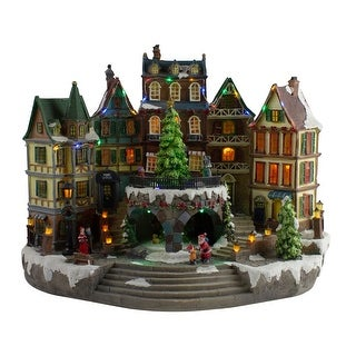 "17"" LED Lighted European Village Winter Christmas Scene with Twirling Tree"