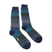 Missoni GM00CMU 5237 0003 Blue/Green Spotted Stripe Knee Length Socks - L