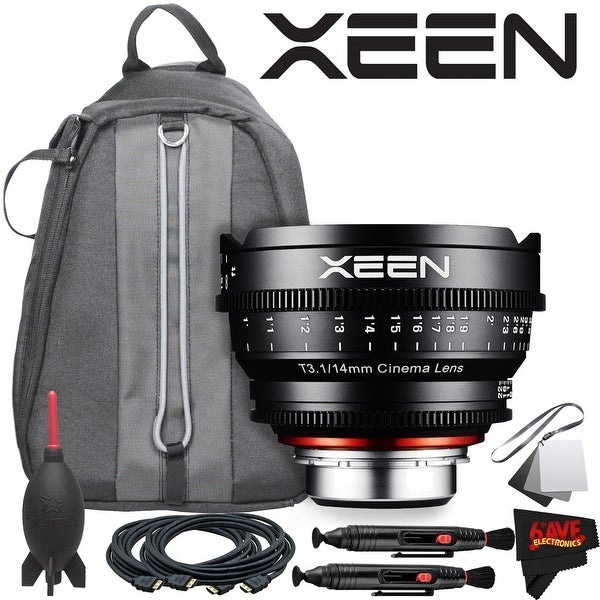 Rokinon Xeen 14mm T3.1 Lens for Canon EF Mount With Professional Lens Backpack and Accessories - black
