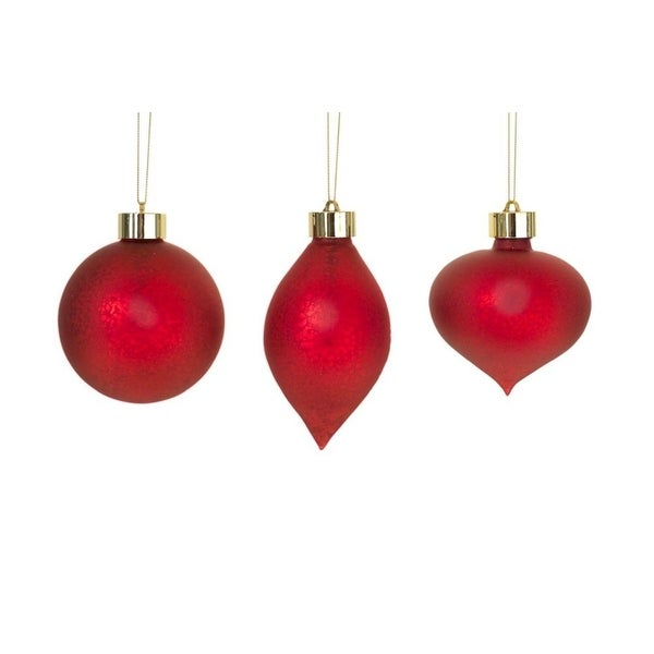 Pack of 6 Unique and Classy Red LED Antiqued Christmas Glass Ornament with Remote 5.25""