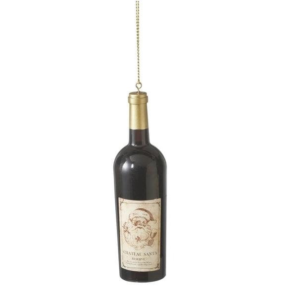 "4.25"" Tuscan Winery ""Chateau Santa"" Wine Bottle Christmas Ornament - black"