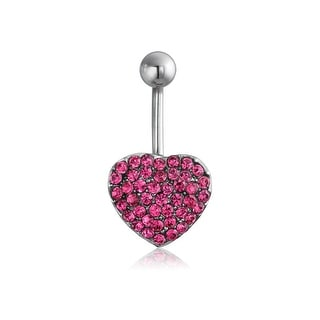 Bling Jewelry 14G Pave Pink Crystal Heart Belly Button Ring 316L Steel
