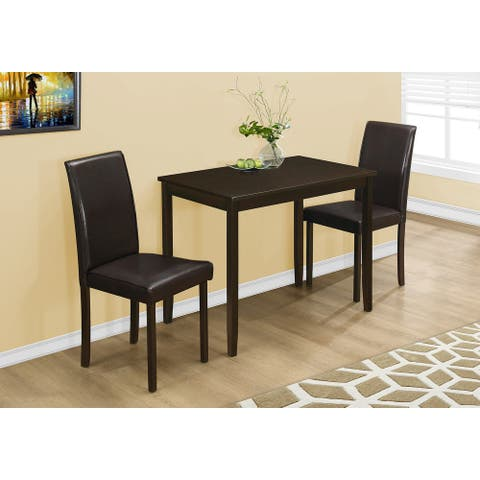Cappuccino Brown Parson Chairs Three Piece Dining Set