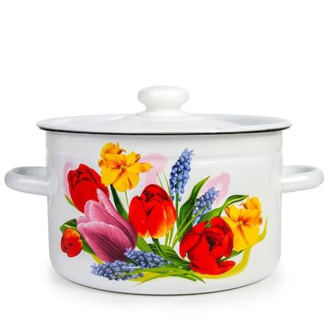 STP Goods 2.1-qt Spring Bouquet Enamel on Steel Pot
